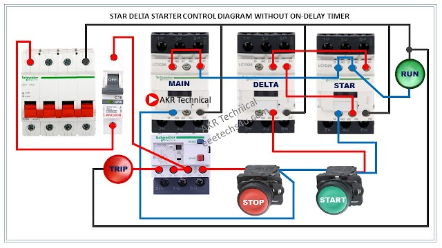 Semi Automatic Star Delta Starter Wiring Diagram without Timer