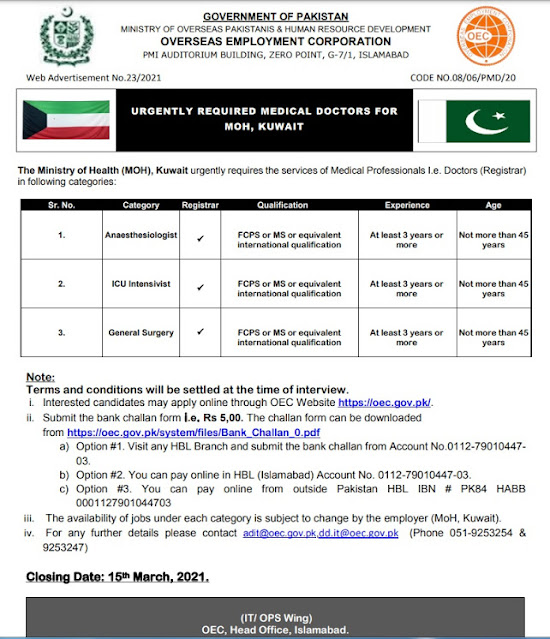 Kuwait Jobs For Pakistani Medical Staff Required All Over Pakistan