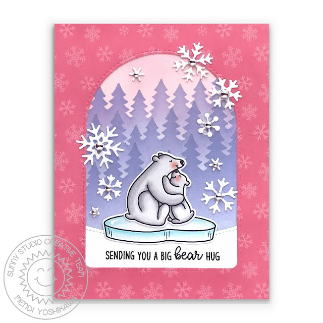 Sunny Studio Card (using Bear Hugs Stamps, Holiday Cheer Paper, Forest Trees Stencils, Snowflake Circle Frame, Stitched Arch & Slimline Nature Border Dies)