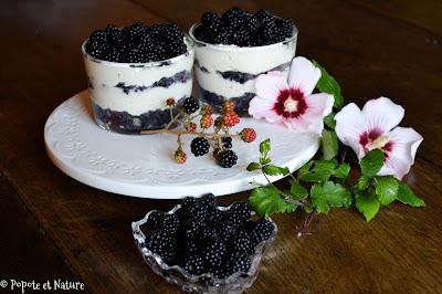 Verrines aux mûres et au mascarpone vanillé façon tiramisu © Popote et Nature