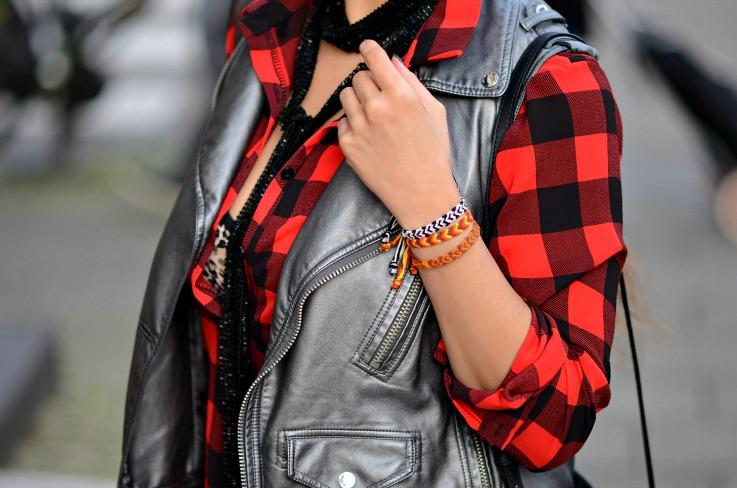 Red Plaid shirt, Skinny scarf, Metallic Supertrash Moto gilet, TC Style Clues, Blogger, plaid and leopard