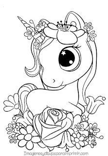 Dibujo cute de unicornio para colorear