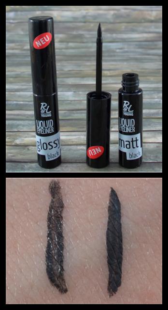 R de L Young liquid eyeliner glossy black und glossy matt und Swatches