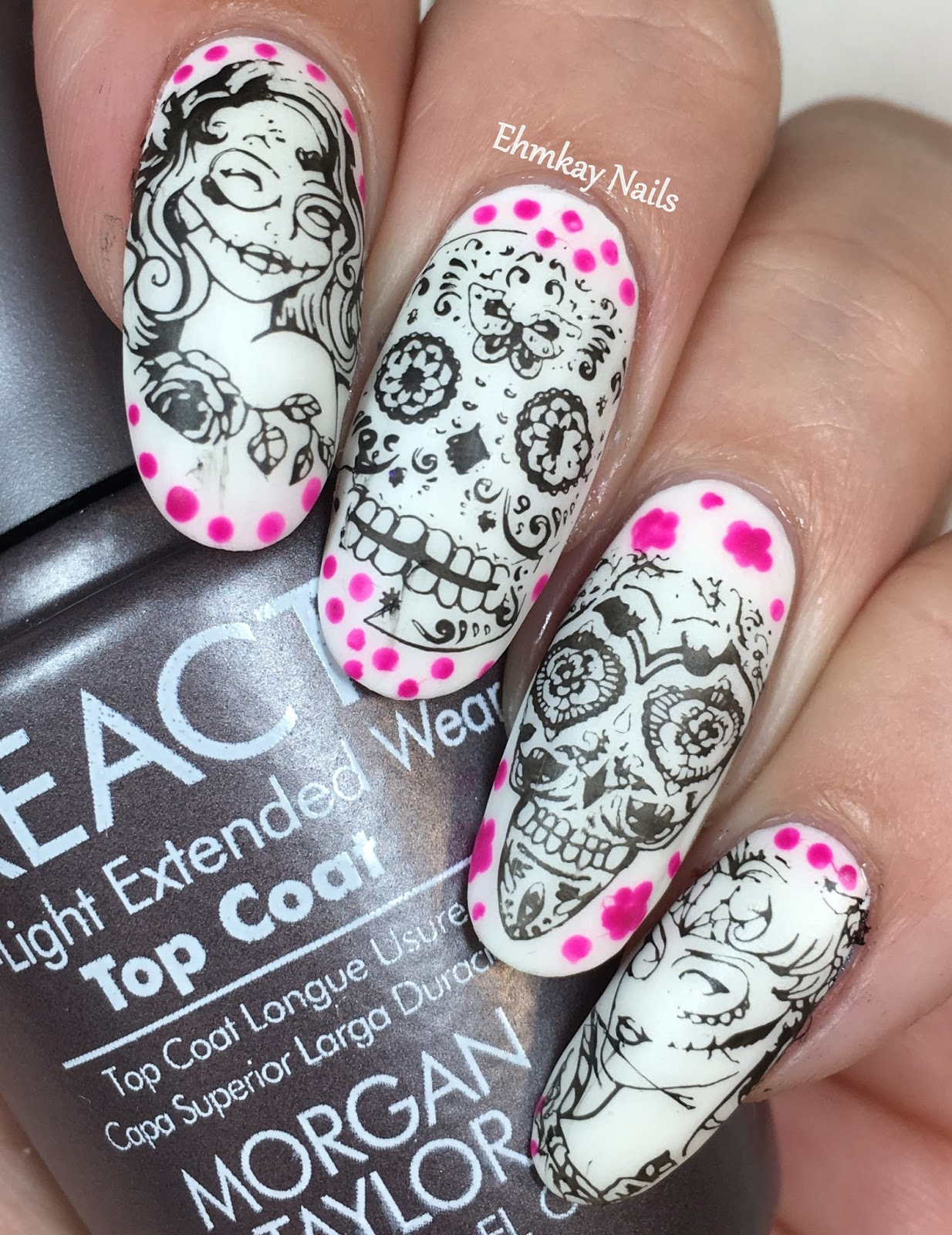 Ehmkay nails halloween nail art glow in the dark sugar skull halloween nail art glow in the dark sugar skull nail art with morgan taylor dia de los muertos prinsesfo Images