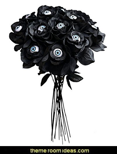 Black Roses with Eyes Halloween Decor