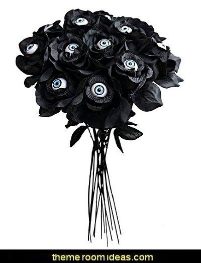 Black Roses with Eyes Halloween Decor