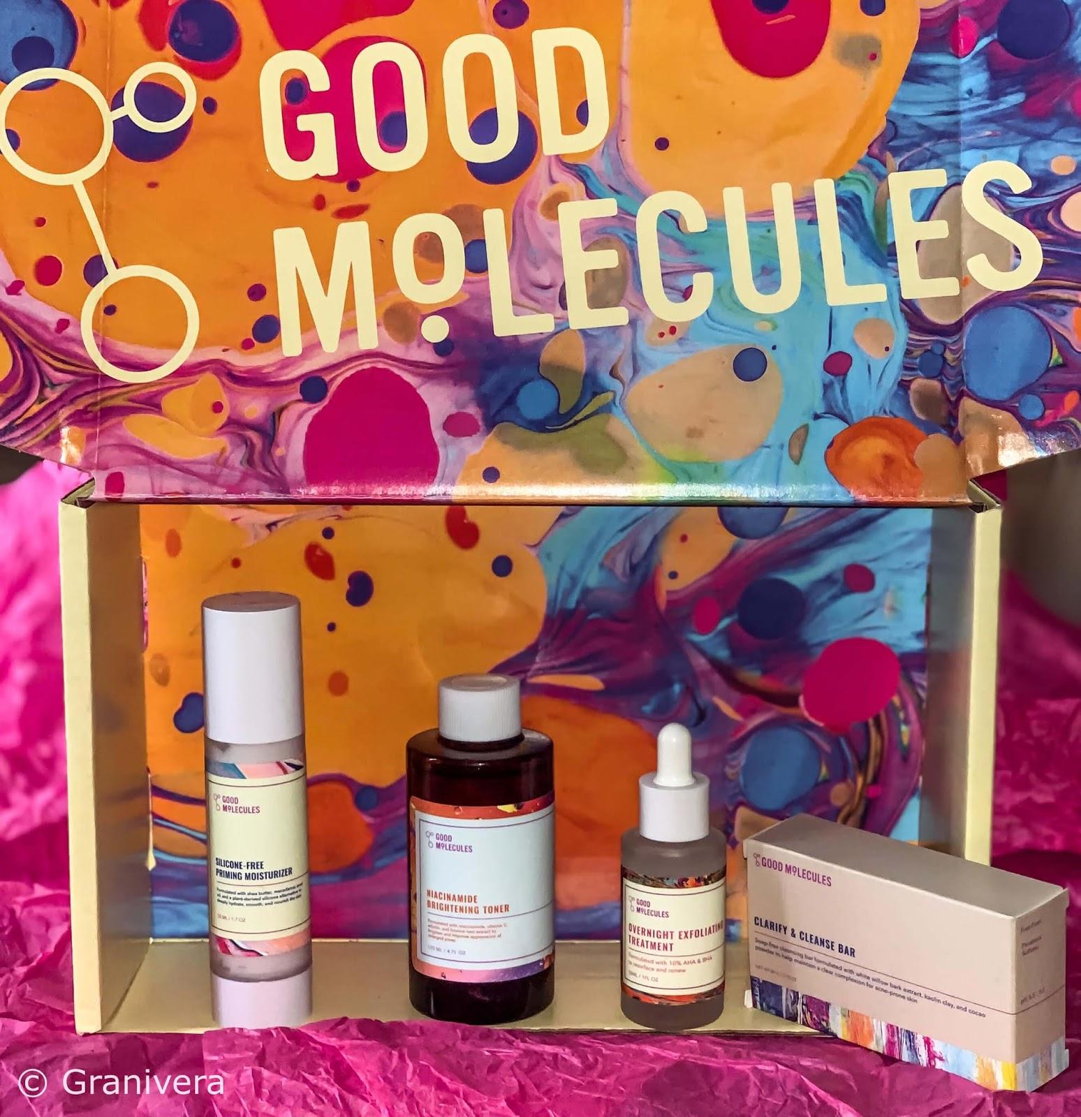 4x Good Molecules - toner, serum złuszczające,krem nawilżający, kostka oczyszczająca,