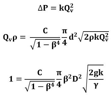 Ecuaciones para cálculo de placa de orificio