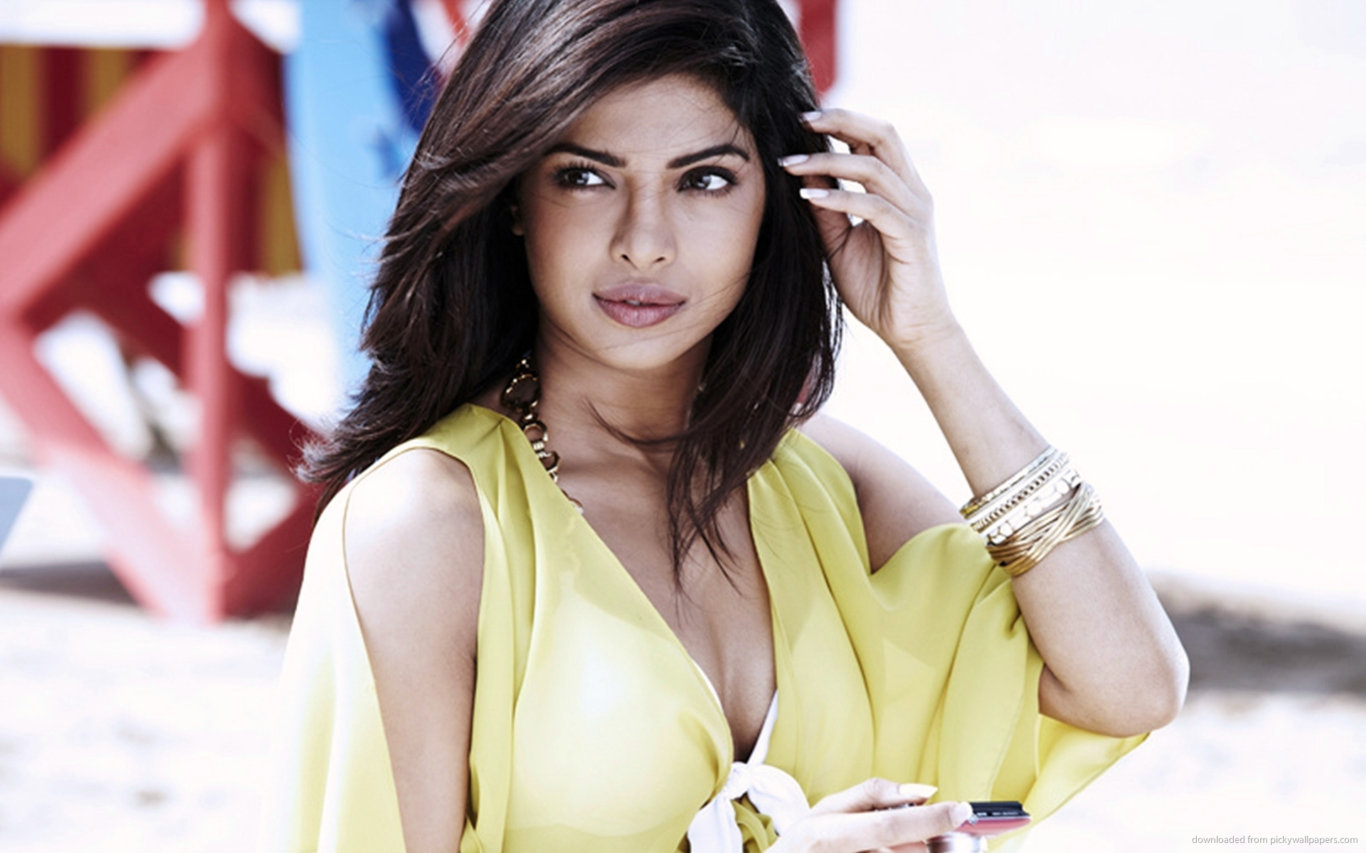 Priyanka Chopra Yellow Bikini Hot Wallpaper