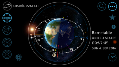 The clock showing the current time at any location you choose along with the positions of the sun, moon, and planets
