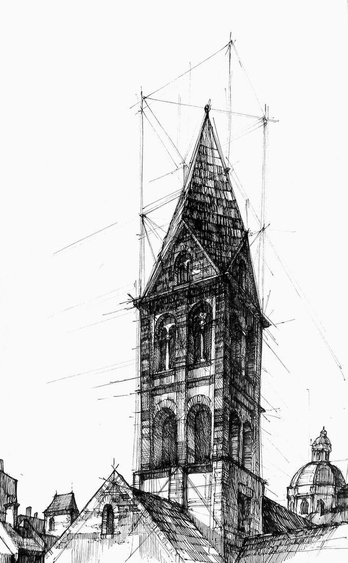 17-Romanesque-Tower-Łukasz-Gać-DOMIN-Poznan-Architectural-Drawings-of-Historic-Buildings-www-designstack-co