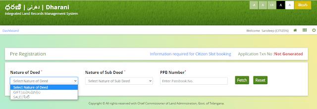 online property registration telangana dharani portal