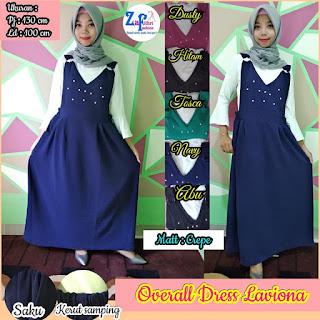 overall dress mutiara bahan crepe