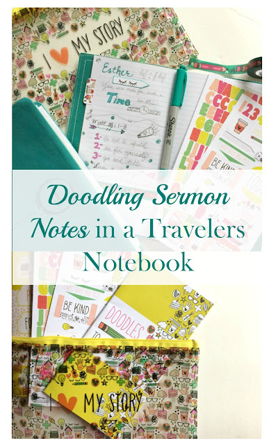 Keep your mind from wandering by Doodling Sermon Notes in a Travelers Notebook