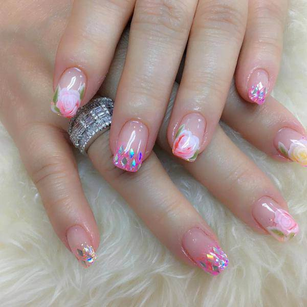 Classy, floral ,reindeer nail design