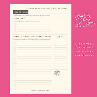 Imprimible gratis lista de tareas