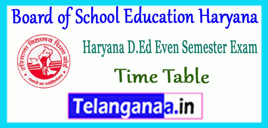 Board of School Education Haryana D.Ed JBT 2nd 4th Semester Time Table