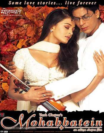 Poster Of Mohabbatein 2000 Hindi 700MB BRRip 720p ESubs HEVC Watch Online Free Download Downloadhub.Net