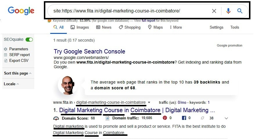 Check keyword presented on title,description and URL