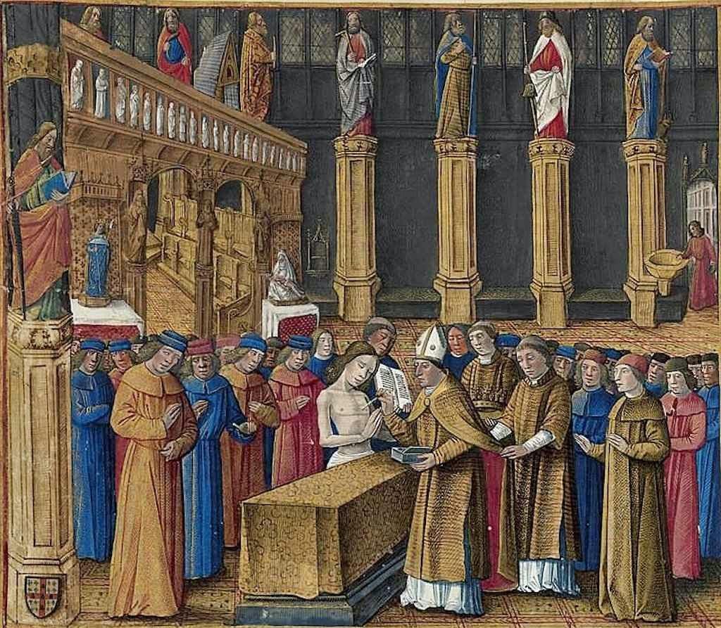 Unção de Balduíno IV. BNF, Français 5594, fol. 176v haut