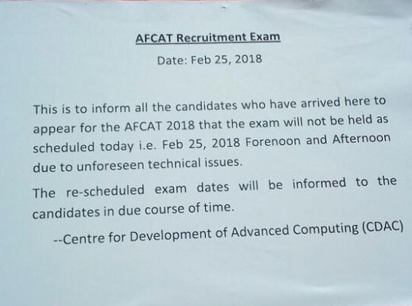 AFCAT Exam 25th February 2018 Cancelled - Re-Exam Updates