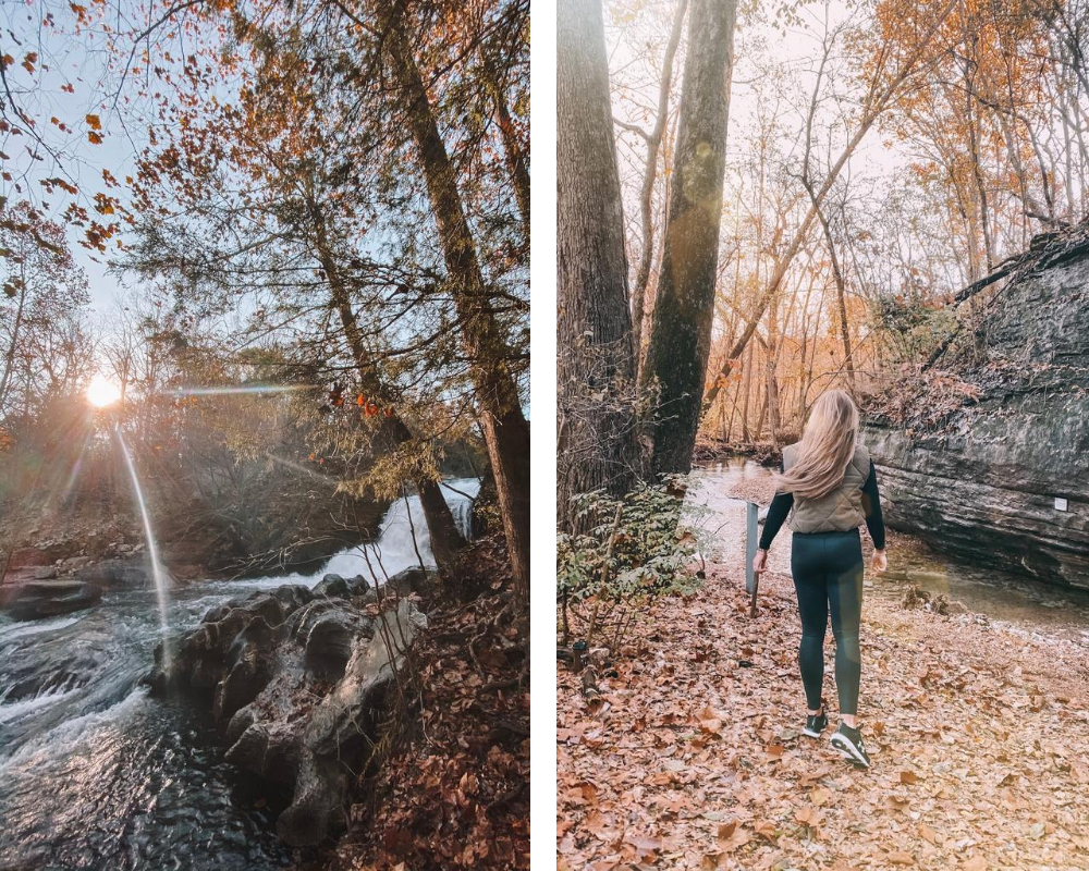 lifestyle and travel blogger Amanda's OK hikes the Tanyard Creek Nature Trail in Northwest Arkansas
