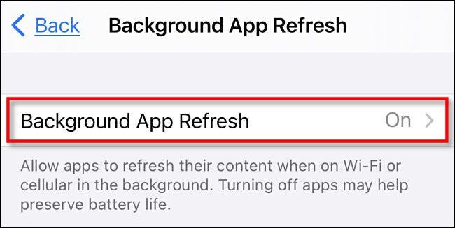 """اضغط على """"تحديث تطبيق الخلفية"""" مرة أخرى."""