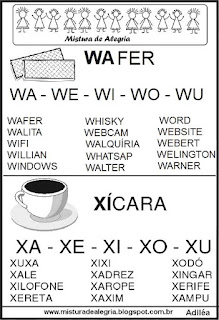 Fichas de leituras letras W-X