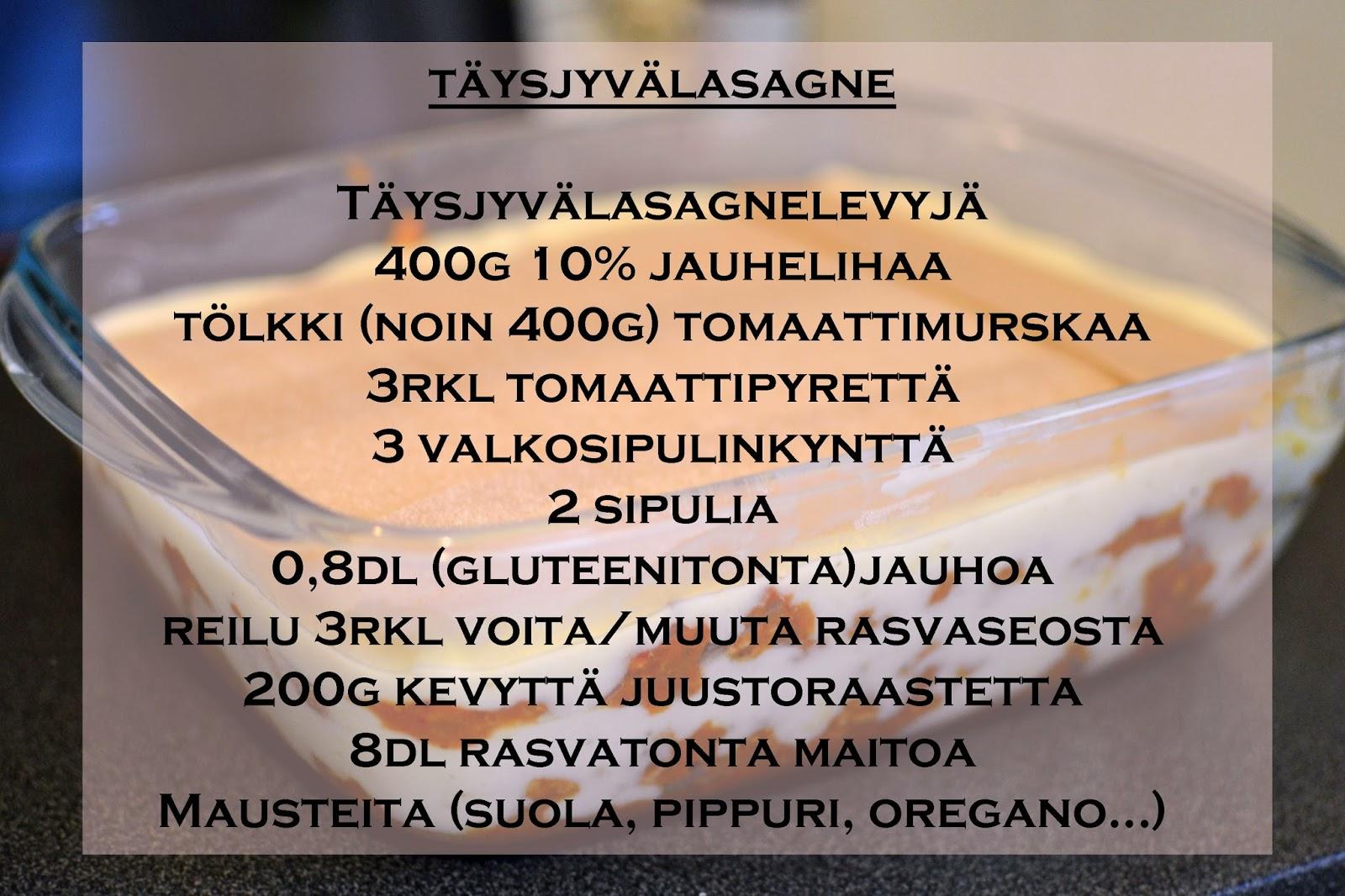 täysjyvälasagne resepti helppo lasagne