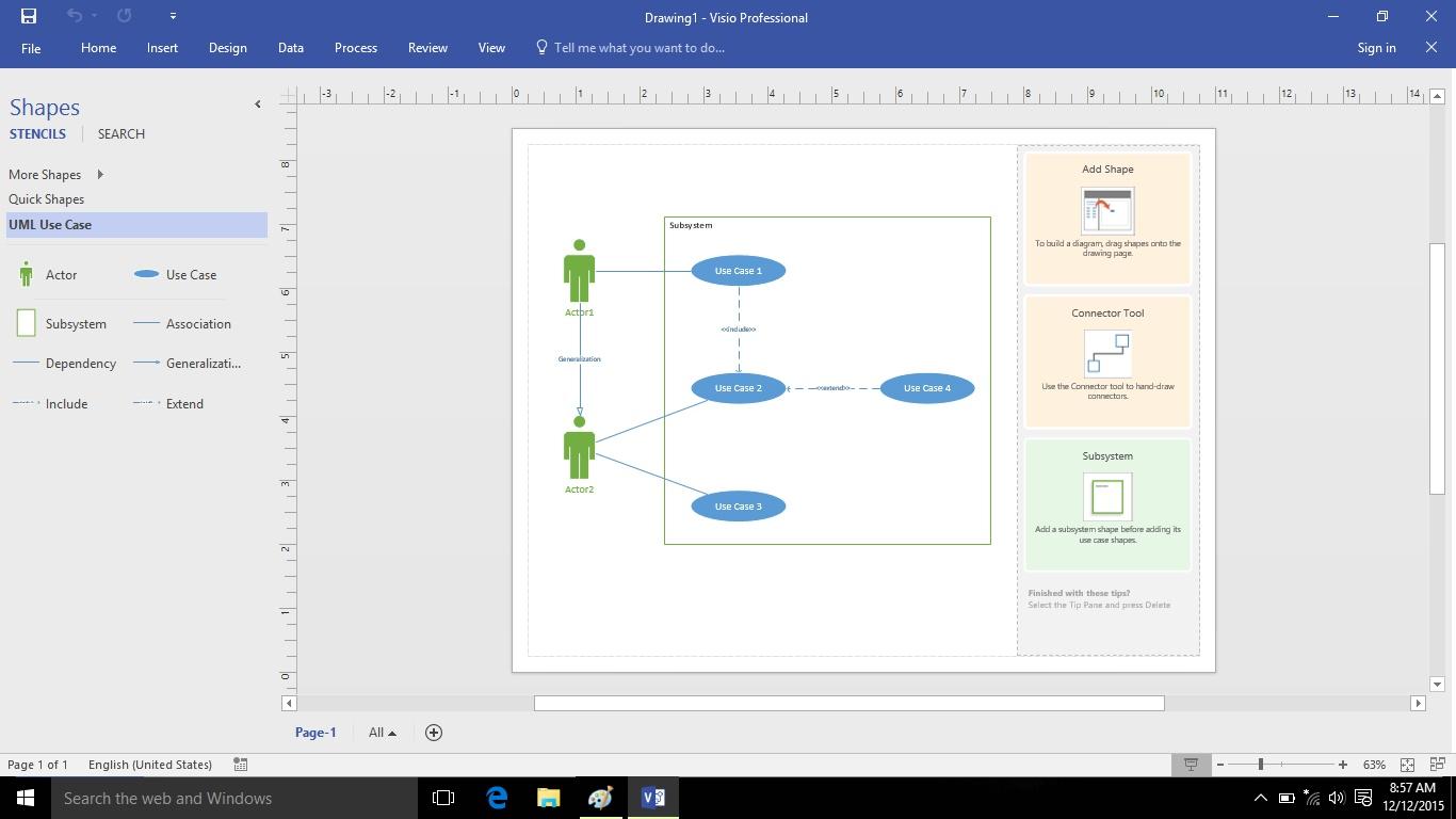 Cara Membuat Use Case diagram menggunakan Visio 2016 ...