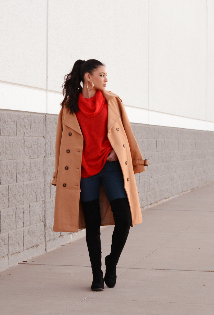 Trench Coat, Red Sweater