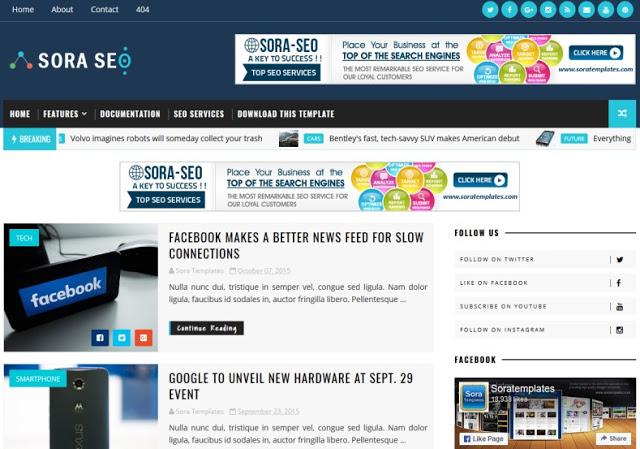 Sora Seo mobile friendly blogger template
