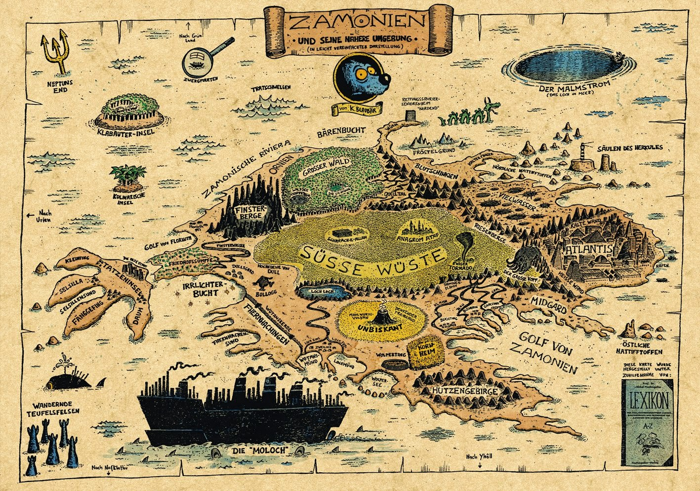 zamonien karte Landkartenblog: Käpt´n Blaubärs sagenumwobenes Zamonien