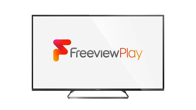 A TV displaying the Freeview Play logo