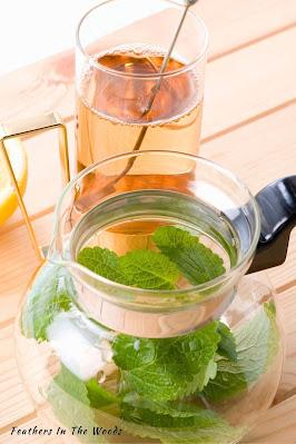 medicinal Lemon balm tea in pot and glass