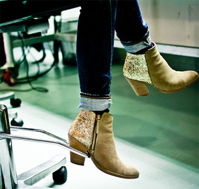 {style inspiration: glitter ankle boots + how to}
