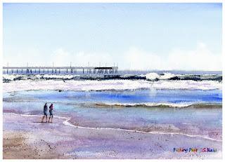 水彩画「フィッシング・ピア」ヴェニスビーチ ロサンゼルス