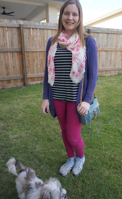 purple cardigan striped tank skull print scarf and magenta skinny jeans outfit with mini mac bag | away from blue