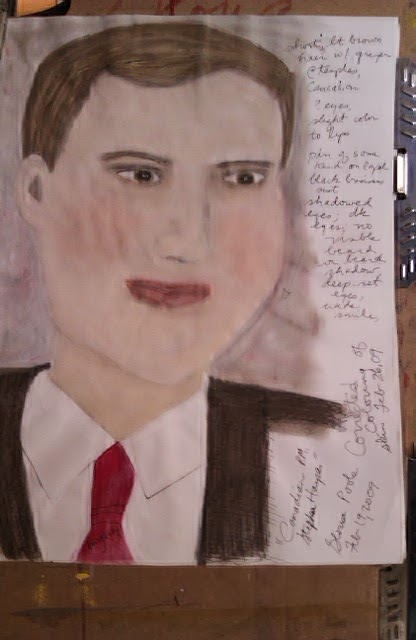 Canadian prime Minister Harper; sketch by Gloria Poole; powdered pastels
