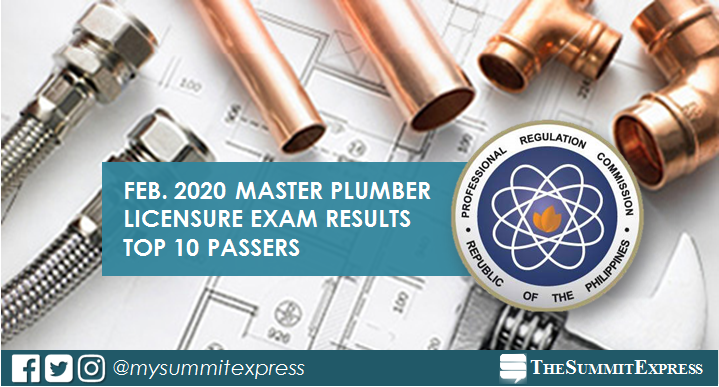 RESULT: February 2020 Master Plumber board exam top 10 passers