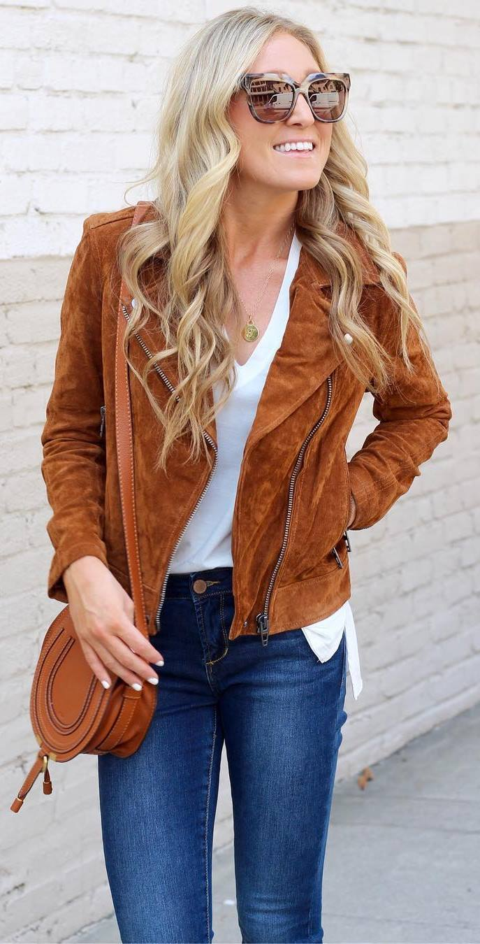 trendy outfit : brown moto jacket + top + bag + jeans