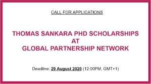Bourses de doctorat Thomas Sankara 2021 pour les pays en développement