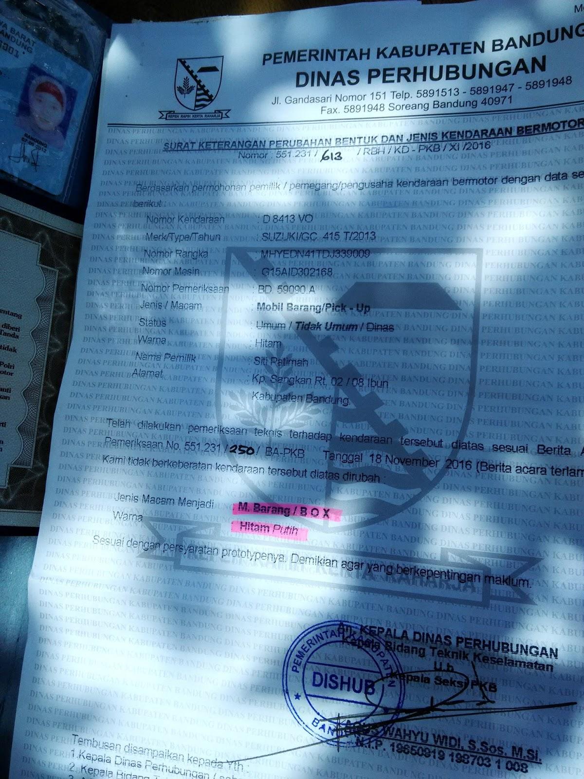 info birokrasi syarat perubahan bentuk dan warna kendaraan