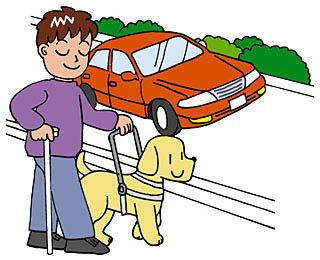 目の見えない人が歩道を盲導犬と歩いているイラスト