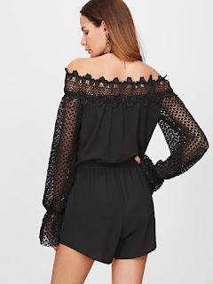 black lace off the shoulder romper