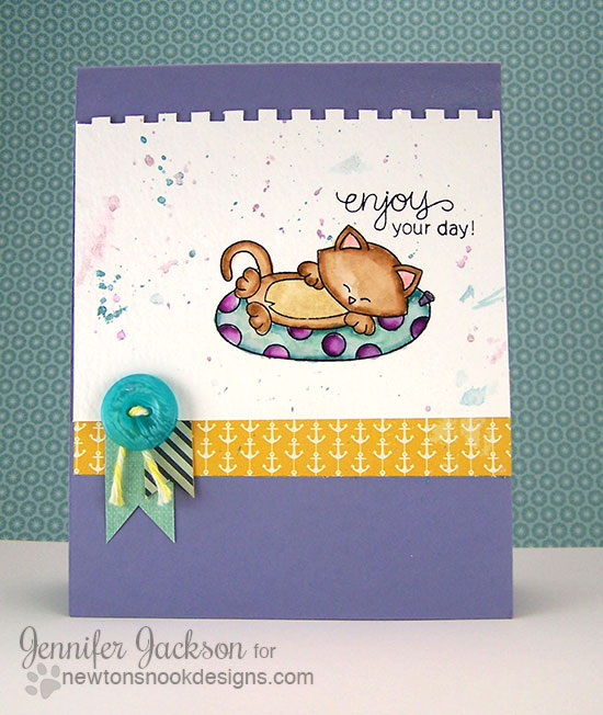 Newton's Beach cat card by Jennifer Jackson for Newton's Nook Designs | Newton's Summer Vacation Stamp set