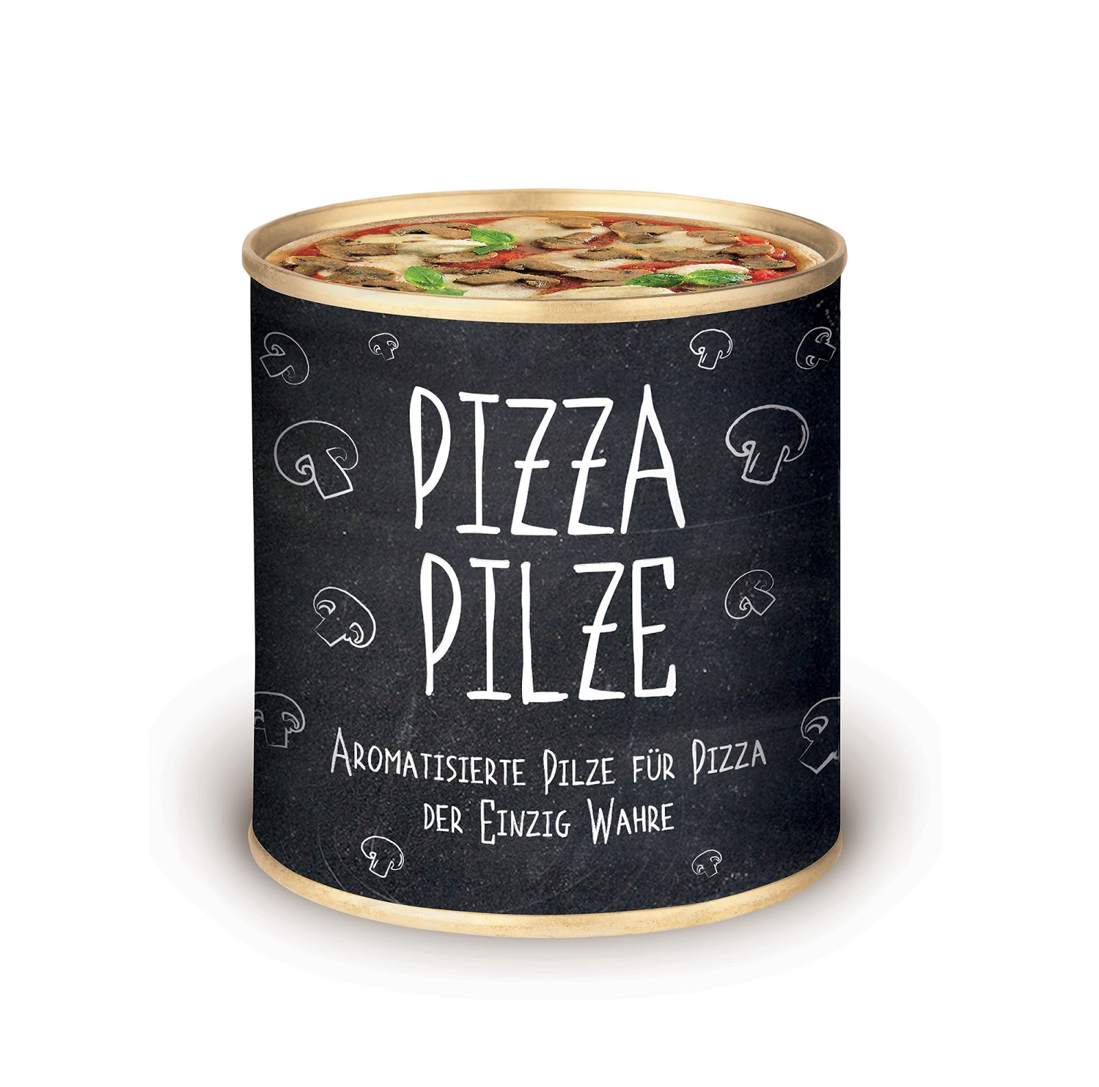 Its Uniqueness Is To Print A Image Of Pizza With Mushrooms On The Tin Can  Closing. This Indicate The Purpose Of The Main Use Of The Product Inside.