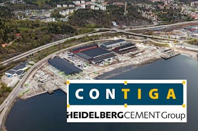 Montage med flygbild över Kynningruds fabrik i Uddevalla och Contigas logotyp.