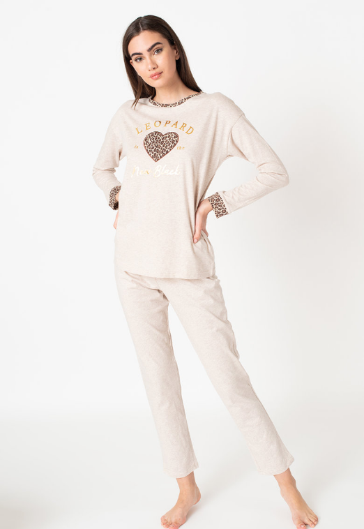 Yamamay Pijama dama cu garnituri cu animal print