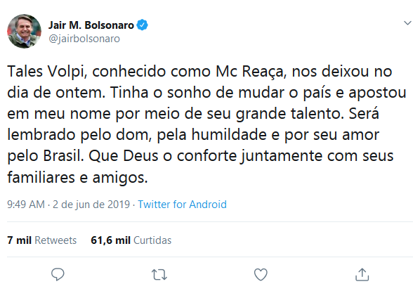 Twitter de Bolsonaro